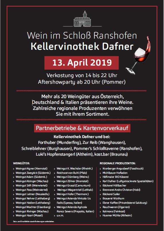 13. April 2019 – Wein im Schloss